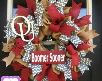Oklahoma Sooners deco mesh wreath, Boomer Sooner wreath, Sports wreath, burlap OU wreath
