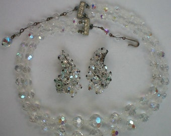 Aurora Borealis Austrian Crystal Glass Bead Double Strand Necklace with Clip Earrings - 4709