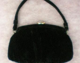 Vintage Black Velvet Evening Bag by Garay - 4462