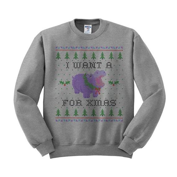 Hippopotamus For Christmas Sweatshirt Christmas Ugly Sweater