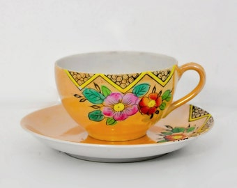 Peach Luster Ware Hand Painted Teacup Saucer Japan 1950's Tea Vintage Dining Serving