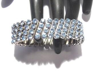 Light Blue Rhinestone Bracelet Four Rows Expansion Style Vintage 50's