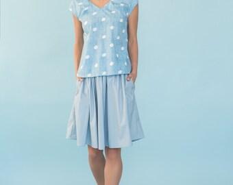 Light Blue Skirt, High Waist Skirt, Skirt With Pockets, Womens Clothing, Womens Skirt, Tea length skirt, Cotton Skirt
