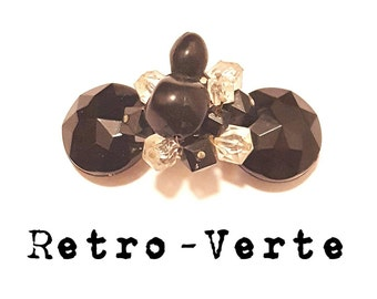 Vintage Upcycled Black Clear Beaded Flower Beveled 1950s French Clip Barrette Pin Up Retro