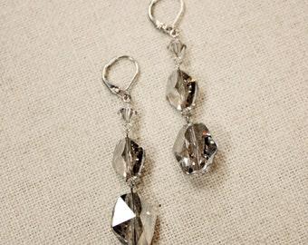 Swarovski Silver Shade Rhinestone Crystal Silver Bridal Earrings, Bridesmaid Earrings, Swarovski Crystal Earrings FREE SHIPPING