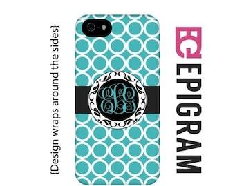 ON SALE Aqua monogram iPhone 5s case, personalized iPhone case, custom iPhone 5c case, personalized iPhone 4s phone cases, iPhone tough case