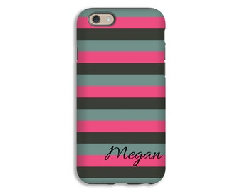 iPhone 6s case, hot pink and grey stripes personalized iPhone 6s plus case, custom iPhone 6 case, iPhone 5c case, tough iPhone case