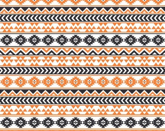 Black, white and orange tribal pattern craft  vinyl sheet - HTV or Adhesive Vinyl -  Aztec Peruvian pattern HTV942