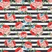 Rose floral and black stripe heat transfer or adhesive  vinyl sheet flower pattern vinyl 12x15 inch HTV7804