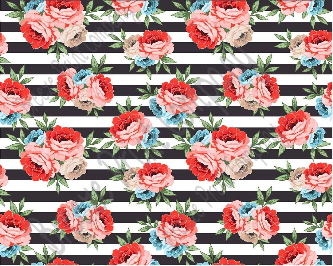 Rose floral and black stripe heat transfer or adhesive vinyl for Rose adesive