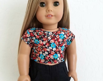 American Girl Doll Clothes - Floral Crop Top  and/or Black Shorts