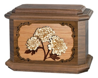 Walnut Mums Octagon Wood Cremation Urn