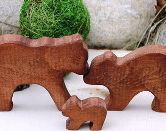 Wooden Bear Family Toy - Natural Eco Friendly Waldorf Toy