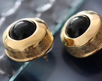 Exceptional Vintage Givenchy Gold and Onyx Domed Earrings