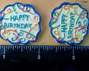 "1 Each 1.25"" x 1.25"" Happy Birthday - Party Flat Back Resin Embellishment"