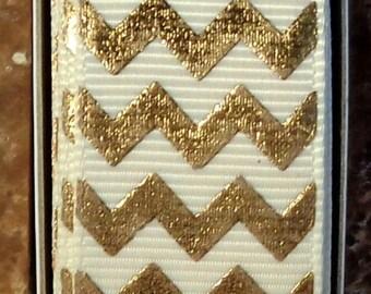 "2 Yards 7/8"" Antique White - Ivory with Gold Chevron - Zig Zag Print - U.S. Designer"