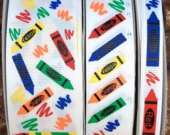 "2 Yards US Designer 3/8"", 7/8"" or 1.5"" Coloring Crayons - School Time Print Grosgrain Ribbon"