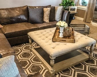 Upholstered Cocktail Ottoman, Weathered Wood and Oatmeal Linen Tufted Ottoman, Made in Oklahoma