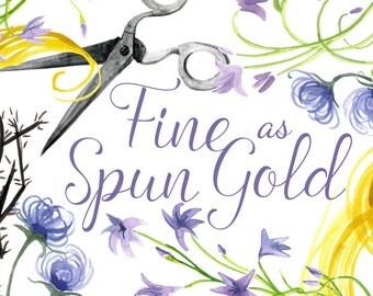 Fine as Spun Gold, Rapunzel clipart, Fairy tale clip art, Scissors clipart, Fairytale clip art, Princess Illustration, Classic clipart