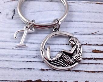 Mermaid Keychain, Mermaid Gift, Nautical Keychain, Custom Keychain, Initial Keychain, Initial Charm, Gift for Her, Gift Under 10