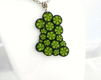 Necklace Polymer Clay Jewelry  Handmade Green Pendant