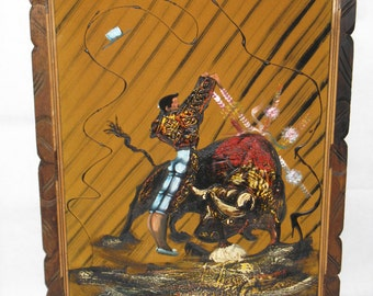 Large oil on velvet painting wood frame bull fight Spain