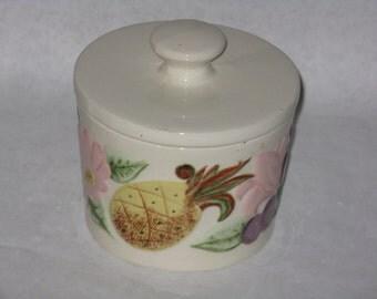 Vintage ceramic grease jar fruit motif lid