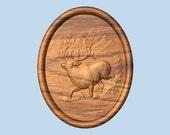 Elk Wood Carving, Mantle ...