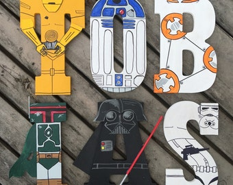 """Hand-painted 5.5"""" tall wood letters Star Wars"""
