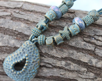 short leather necklace patina beads