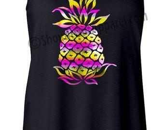 Pineapple Tank top, Tank top Pink/yellow rainbow foil Pineapple tank or tshirt, beautiful pineapple shirts,