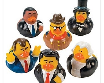 Presidential (6) Rubber Duckie party favors/cupcake toppers, party supplies, Obama, Clinton, Election, Democrat, Republican