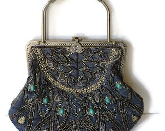 Vintage Beaded Denim Handbag Shoulder Crossbody Purse Pierced Metal Frame