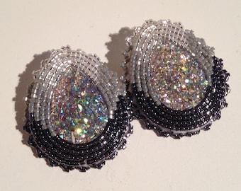 Gray Fade Beaded Stud Earrings