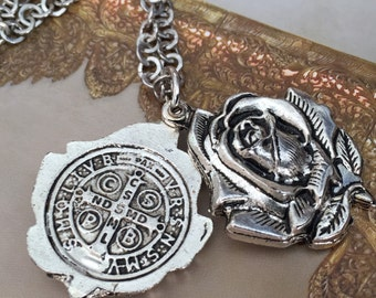 "St Benedict exorcism locket with 23"" chains/ silver plated with vintage look/ gift medal/ medalla jubilar San Benito  con cadena"