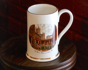 Vintage English Earthenware Souvenir Tankard Stein Roman Baths & Abbey, Bath England