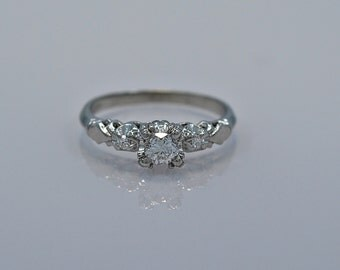 Art Deco .26ct. Diamond & Platinum Engagement Ring - J35218