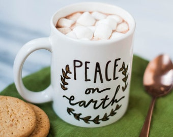 Mug Quote: Peace On Earth. A perfect Christmas or Just Because Gift.  On a porcelain, 11 oz. mug, Luke 2 vs. 14