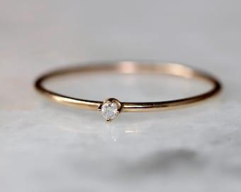 14K Tiny Diamond Ring, Dainty Diamond Ring, Stacking Ring, Solid Gold Ring, Little Diamond Ring, Midi Ring