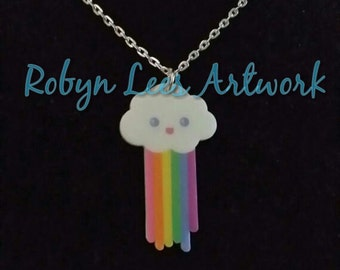 Happy Kawaii Cloud Pooping Rainbow Printed Acrylic Necklace on Silver Crossed Chain