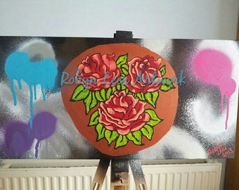 SALE Copper Trio of Red Roses Hand Painted Canvas Artwork in Acrylic and Spray Paint