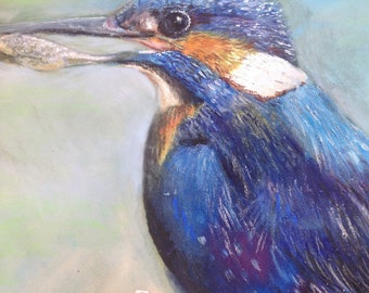 """Original Pastel painting of a ling fisher - mounted ready to frame 12"""" by 16"""""""