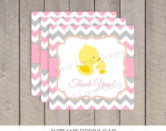 Pink and Grey Ducks Favor Tags, INSTANT DOWNLOAD, Girl Baby Shower, Yellow Duckies, Chevron, Printable, As Is, Mom and Baby Ducks - 058