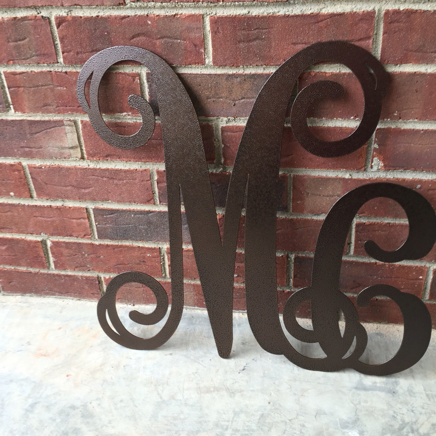 Large metal letters mc initial wreath door monogram for Large metal monogram letters
