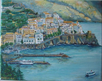 Evening in Amalfi ( Italy), original painting on canvas, seaside of city, seascape painting, Cities & Towns painting, acrylic painting