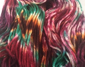 Hand Dyed Superwash Merino Wool Yarn, Hand Painted, Indie Dyed, DK Weight, 100 grams, 246 Yards Light Worsted, Knitting Crochet fiber,
