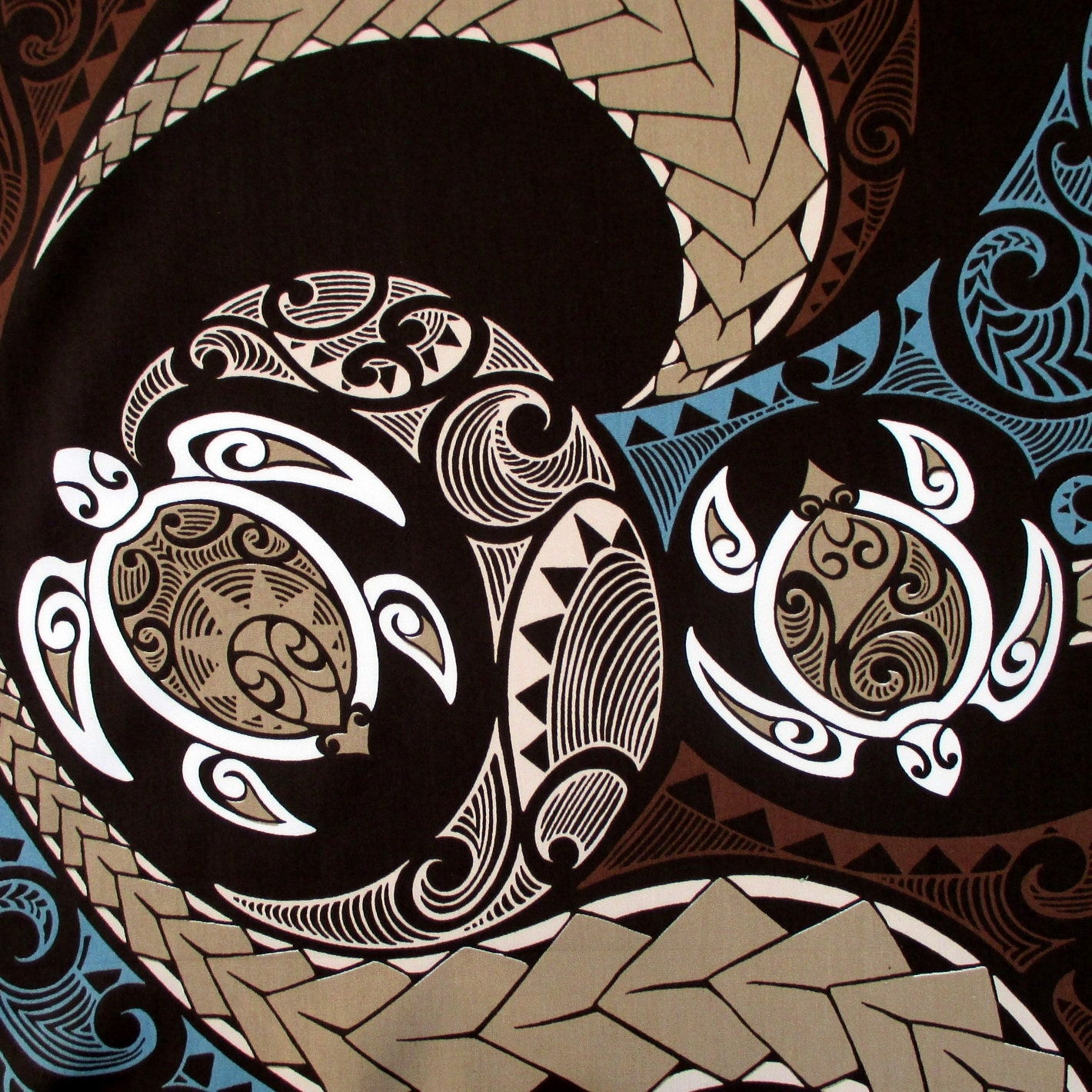 Fabric Hawaiian Honu Sea Turtle Swirl Polynesian Tapa Tattoo