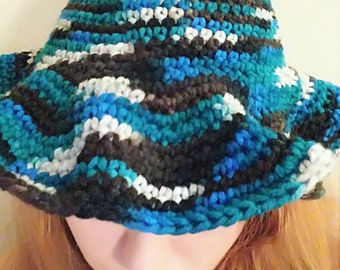 Crocheted Witch Hat. Blue Witch Hat.