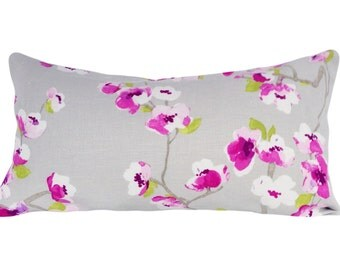 Braemore Pink Floral Asian Decorative Pillow Cover - Throw Pillow - 10x20, 12x16, 12x18, 12x20, 14x18, 14x24, 16x16, 18x18, 20x20, 22x22