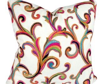 Floral Scroll Decorative Pillow Cover - Throw Pillow - Hot Pink Velvet Back - 12x16, 12x20, 14x24, 16x16, 18x18, 20x20, 22x22